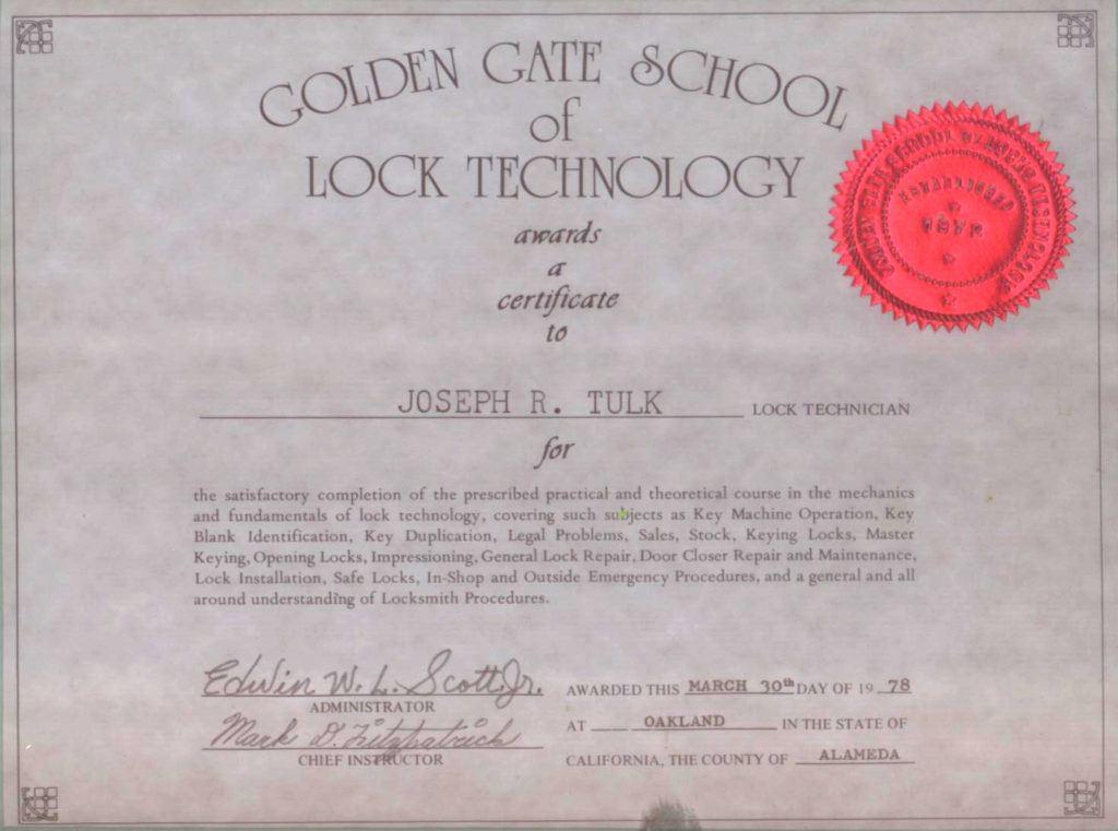 diploma of Joseph R. Tulk