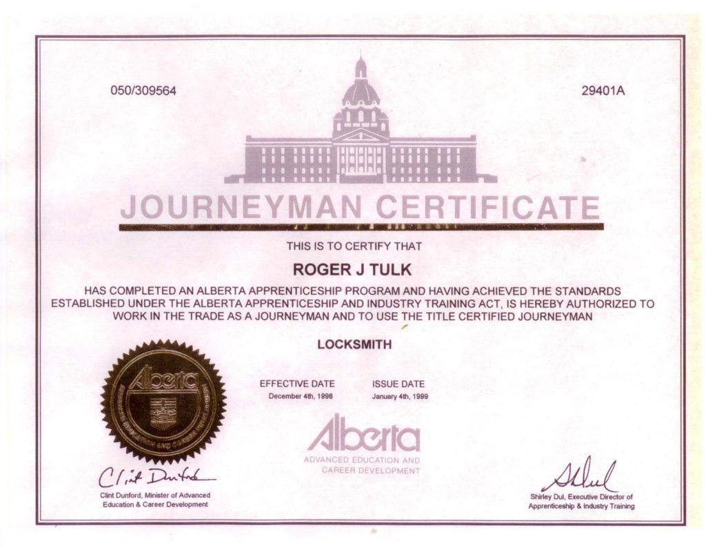 diploma of Roger J. Tulk
