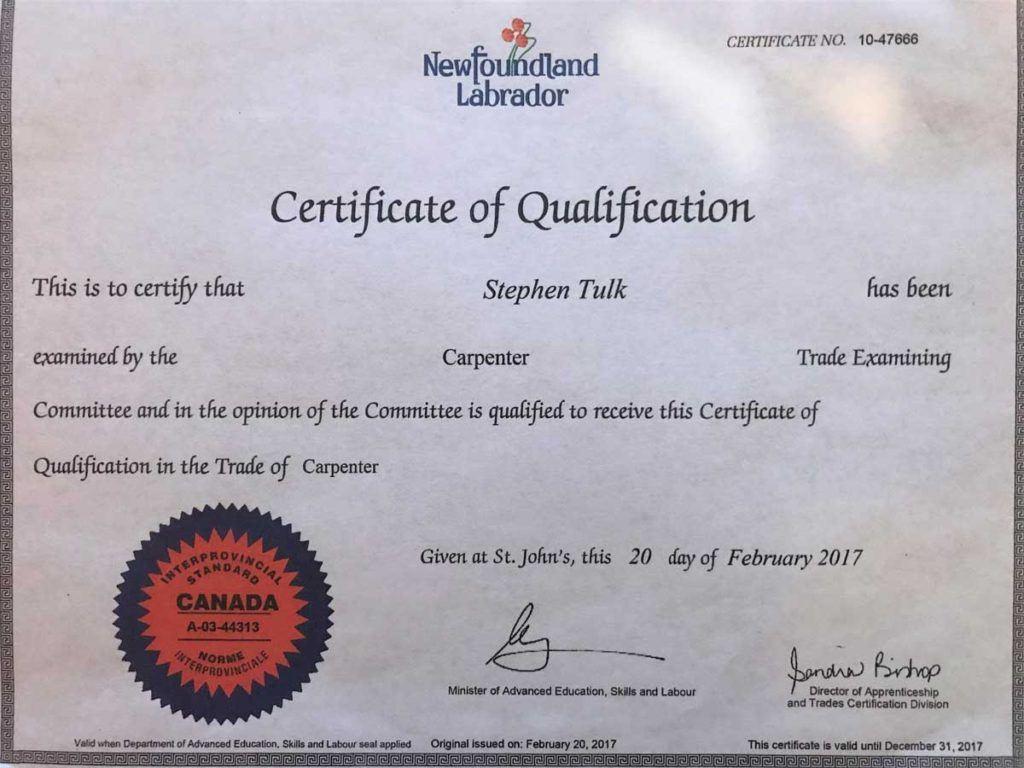 diploma of Stephen Tulk